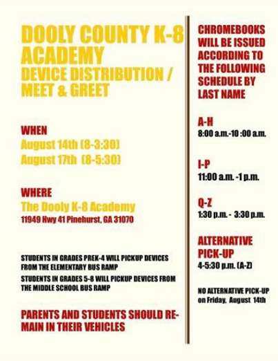 K-8 Academy Device Distribution/Meet & Greet